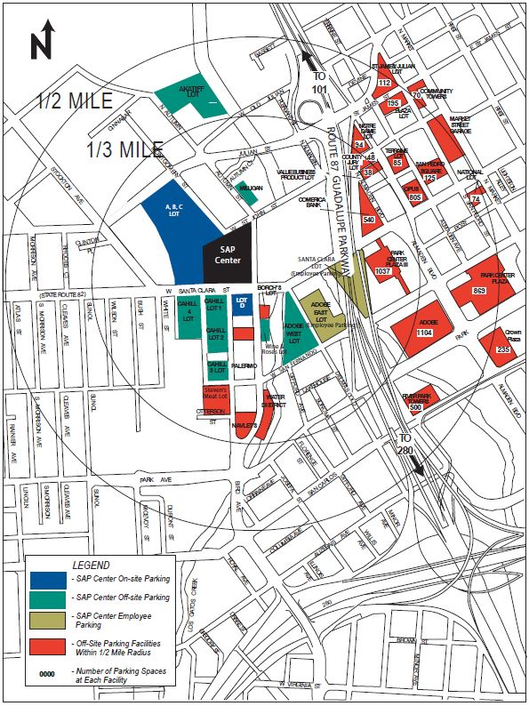 Parking, Pricing and Directions | SAP Center